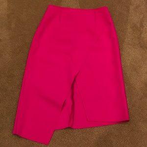 Topshop asymmetrical bright pink midi skirt